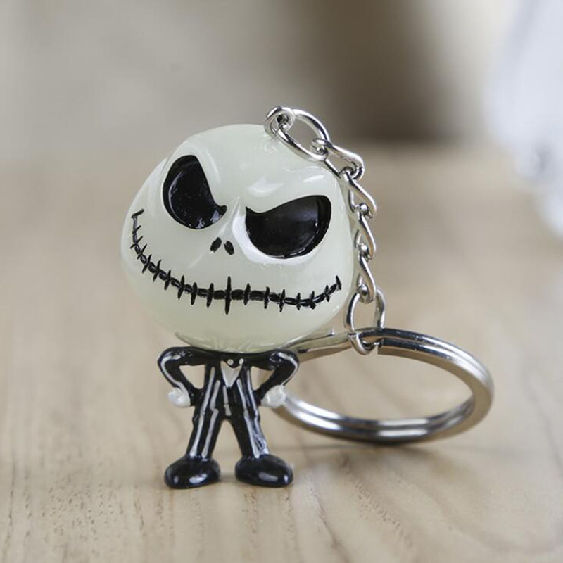 Christmas Jack And Sally Keychain Skellington Key Ring Hanger Mask The Head Glowed In The Dark Figure Toy Key Chain Gift For Men