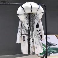 Women Coats Long 2018 Natural Real Real Fox Fur Parka Winter Jacket Real Fox Fur Large Collar Fur Liner Female Outerwear