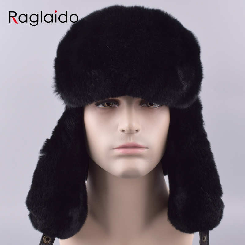 a88ba2ee428 Raglaido Men s Hat with Ear flaps Ushanka Bomber Hats Winter a cap Snow  Russian Hat made of fur Thick Warm Adjustable LQ11199 R-in Bomber Hats from  Apparel ...