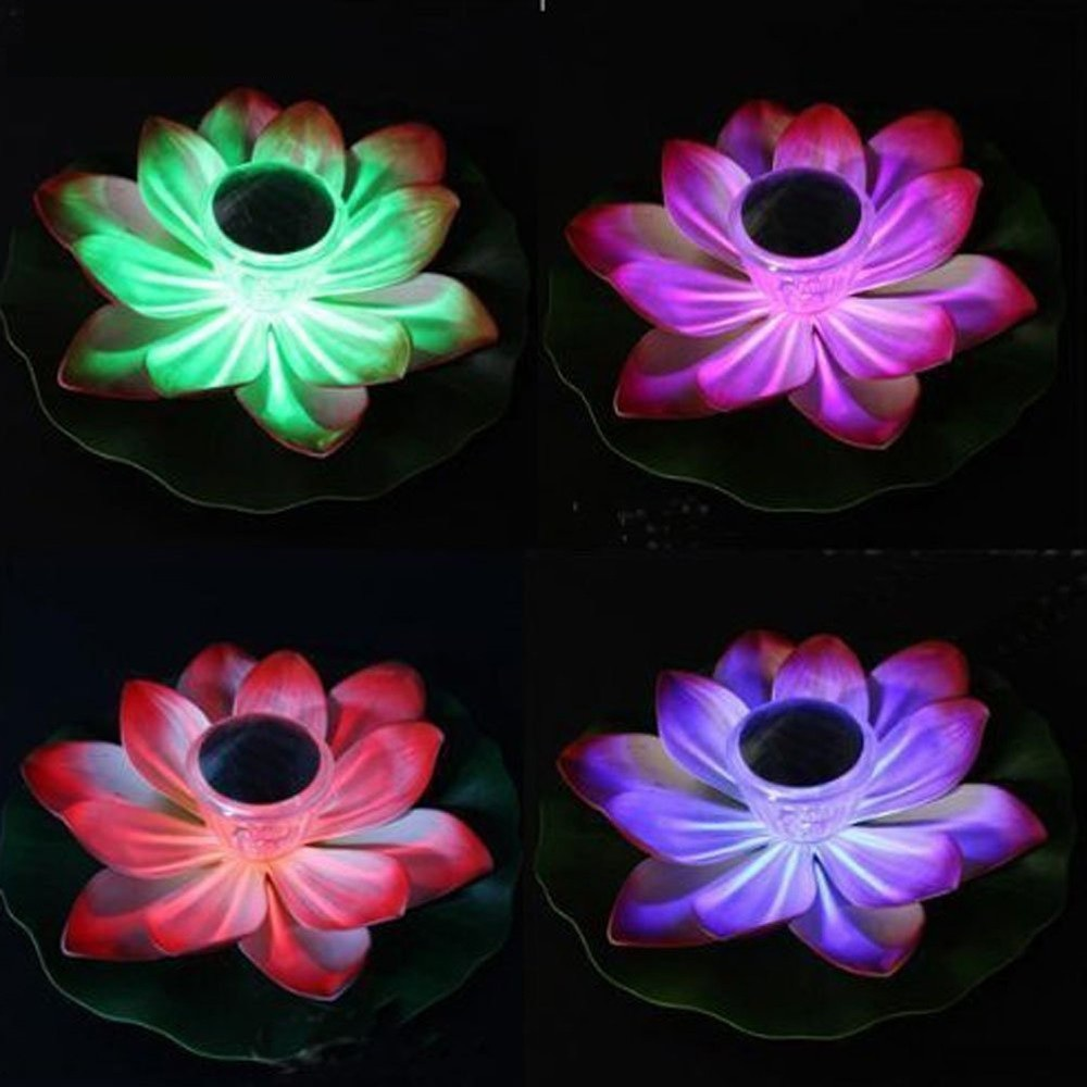 Solar Floating LED Lamp Lotus Light Waterproof RGB Color Changing Flower Night Lamp For Pond Pool Garden Decoration in Solar Lamps from Lights Lighting