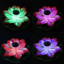 Solar Floating LED Lamp Lotus Light Waterproof RGB Color Changing Flower Night For Pond Pool Garden Decoration