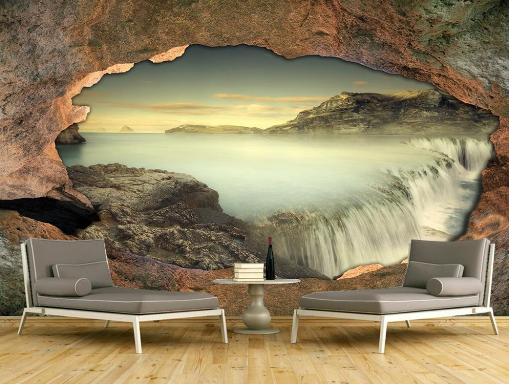 Custom Wall Murals stone waterfall Wallpapers 3D Large Mural Bedroom Living Room Sofa TV Hotel Decoration Painting the latest 3d murals dream of the sun exposure forest trees stone waterfall scenery living room tv sofa bedroom wall paper