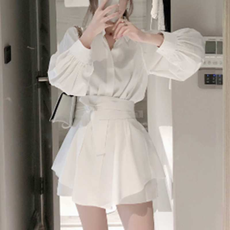 2019 summer fashion white long shirt casual suit female Lantern sleeve blouse + wide leg short pant two-piece suit with belt