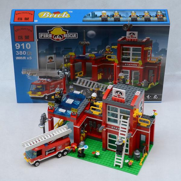 380 pcs Compatível lepin Cidade estação de Bombeiros emergência fogo do tijolo Figuras Building Blocks brinquedos originais do motor do carro