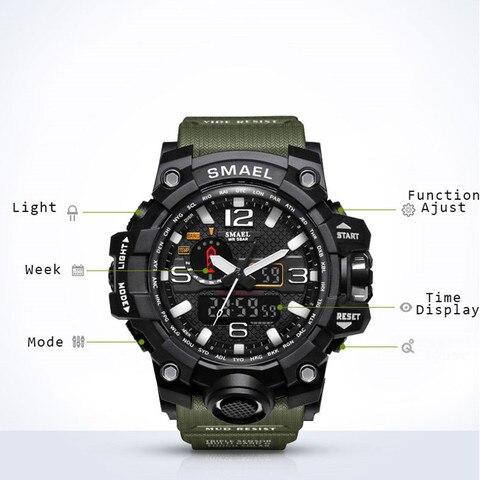 Men Military Watch 50m Waterproof Wristwatch LED Quartz Clock Smael Watch Male relogios masculino 1545 S Shock Sport Watch Men Karachi