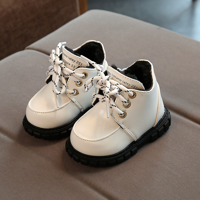 Claladoudou 11.5-13.5CM Baby PU Leather Winter Shoes Kids Girls Soft Warm Snow Boots Toddler Boys Waterproof Infant First Walker