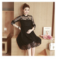 Autumn Sweet Lace Pregnant Dresses  Long Sleeve Clothes Breathable Pure Colors Maternity Dress Trending Style
