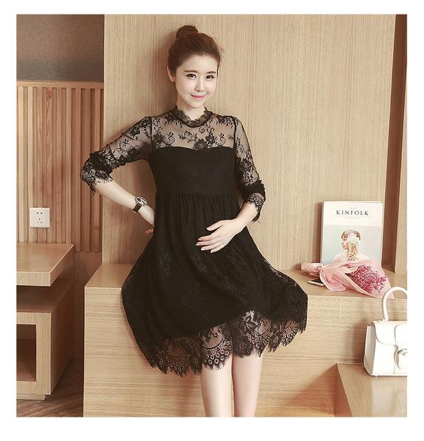 Outono sweet lace vestidos grávidas roupas de manga longa respirável puro cores maternidade dress trending estilo