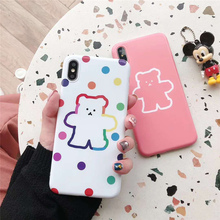 Smooth soft bear case for iphone 8plus cute cartoon dots point pattern iPhone 6 s xs max x xr cover 7plus