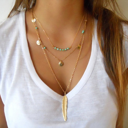Super Popular Feather Pendant Necklace Buy Cheap Feather Pendant Short Hairstyles Gunalazisus
