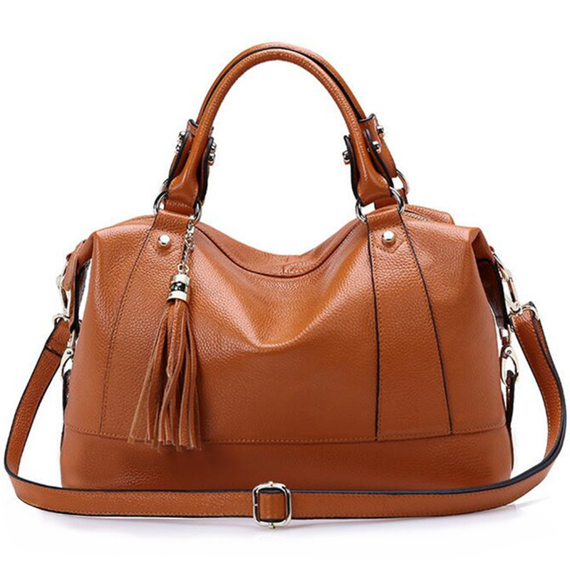fa6528cdfdd8 High quality natural Genuine Leather Women's Bag women Fashion design handbag  female High capacity cow leather shoulder bag 35cm