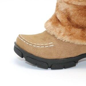 Image 5 - حذاء شتوي جديد للركبة من Taoffen مصنوع من الفرو السميك عالي الكعب للنساء حذاء طويل مثير للثلج مقاس كبير 35 43