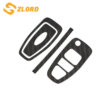 Zlord Carbon Fiber Car Key Protection Cover Trim Stickers Case for Ford Focus 3 4 MK3 MK4 Ranger Kuga Escape Folded Key image