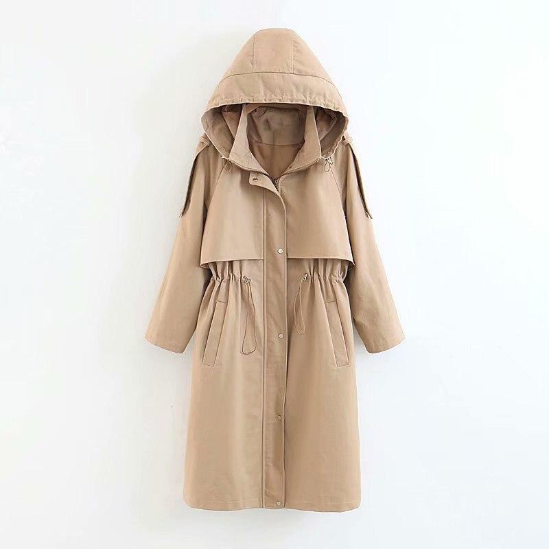2018 nouveau fasion d'hiver Tranchée Manteau Femmes à capuchon Angleterre Style solide doublure outwears femelle élégant coupe-vent