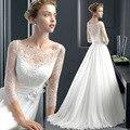 Lace Wedding Dresses 2016 Floor- length A-Line Romantic Bride Dress Cap Sleeve Three Quarter Custom Made vestidos de noiva