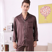 Summer 100% mulberry silk pajamas for men solid lounge wear&sleepwear clothes home suit man