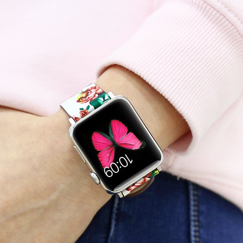 Купить с кэшбэком Watch Band Leather peony Print For Apple Watch 38mm 42mm Series 1/2/3 Replacement Watch Accessories Wristbands Straps Bracelet