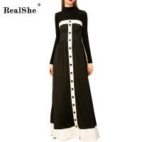 RealShe Slash Neck Women Long Dress Autumn Female Vintage Dress Off Shoulder Sexy Dresses Vestidos Elegant