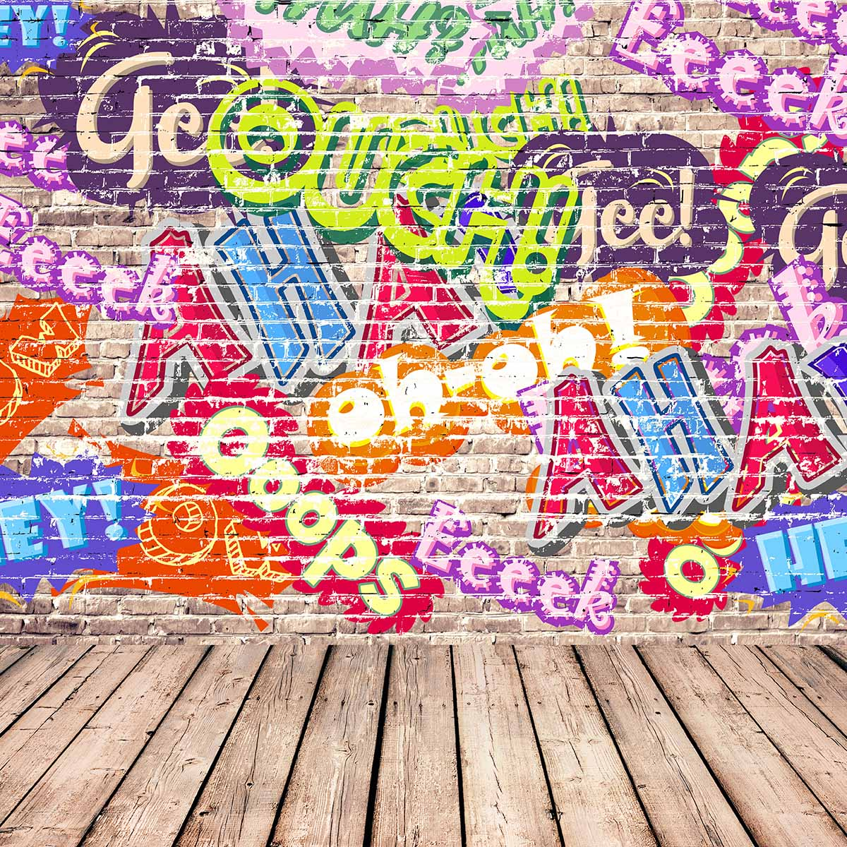 Allenjoy photography background store Graffiti brick wall theme backdrop Colorful and Cool Text pattern background New Arrivals