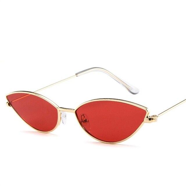 Sexy bonito Do Olho de Gato Óculos De Sol Das Mulheres Retro Pequeno Preto Vermelho Rosa Cateye Óculos de Sol Feminino Vintage Shades para Mulheres Gafas óculos de sol