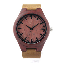 BOBO BIRD L15 Mens Wooden Watch Red Sandalwood Casual Fashion Red Dial Face Quartz Movement Montre Homme OEM and Customization