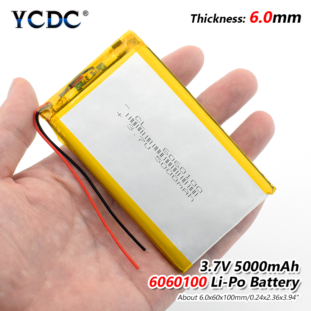 1/2/4 Pieces New Durable 6060100 5000mAh 3.7V Lithium Polymer Batteries 3.94x2.36x0.24