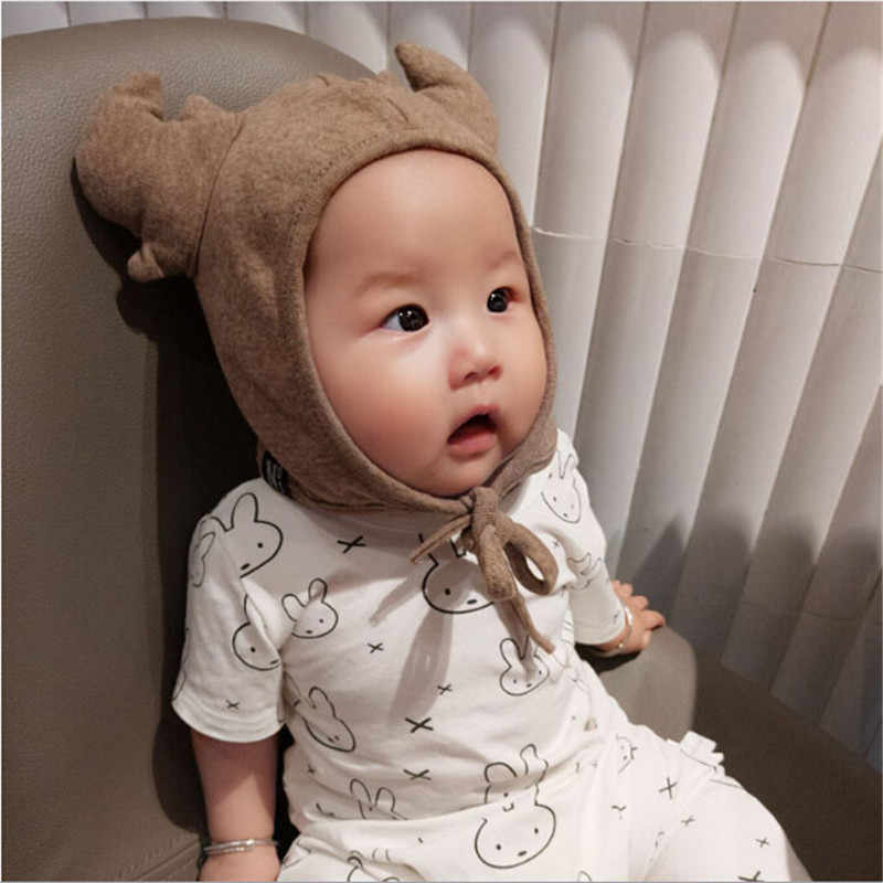 3 Colors Girls Boys Kid Beanie Cap Hat  New Newborn Toddler Infant Baby Earflap Winter Warm Antler Soft Cotton Hat