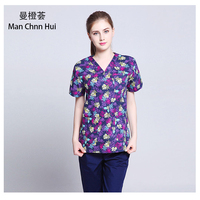 printed medical clothings for cotton veterinary short sleeve scrubs uniform enfermeira dental uniform medical wear