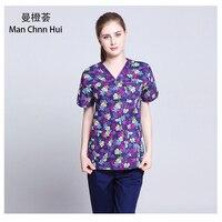 printed medical clothings for cotton veterinary short sleeve scrubs uniform enfermeira dental uniform medical wear