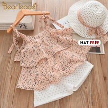 Bear Leader Girls Clothing Sets 2019 Summer Kids Clothes Floral Chiffon Halter+Embroidered Shorts Straw Children Clothing bear leader kids clothes 2018 fashion sleeveless summer style baby girls shirt shorts belt 3pcs suit children clothing sets