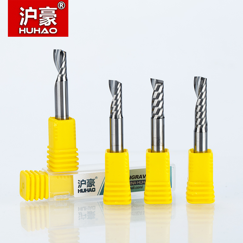 1pcs HUHAO 6mm Single Flute Spiral Cutter 2A High Qualit Router bit CNC For Acrylic PVC MDF End Mill Carbide Milling Cutter 1pcs 12mm shk one flute end mill cutter spiral bit cnc router tool single flute acrylic carving frezer