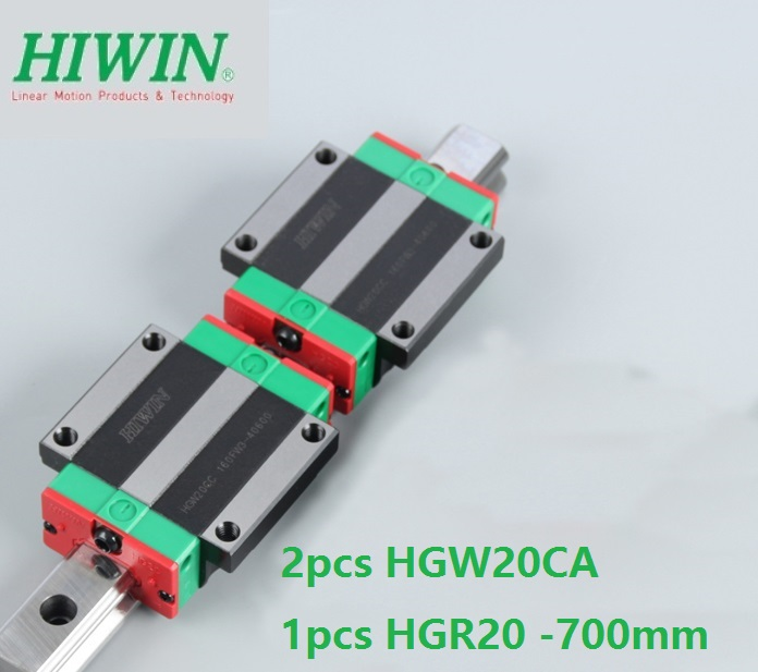 1pcs 100% original Hiwin linear rail HGR20 -L 700mm + 2pcs HGW20CA HGW20CC flange carriage for cnc цены
