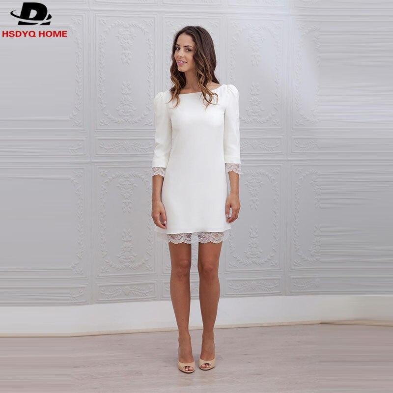 White Short Sheath Wedding Dresses Lace Satin Informal Vestidos De ...
