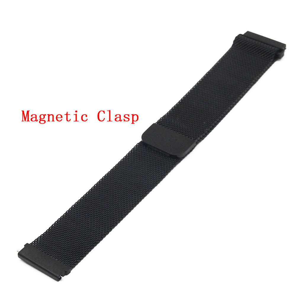 Stainless Steel Watch Band 22mm for Vector Luna / Meridian Magnetic Clasp Strap Quick Release Loop Belt Bracelet Black Silver