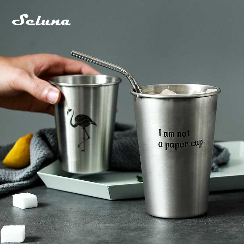 500ml Stainless Steel Cup Mug Drinking Coffee Tea Tumbler Travel Silicone Cover
