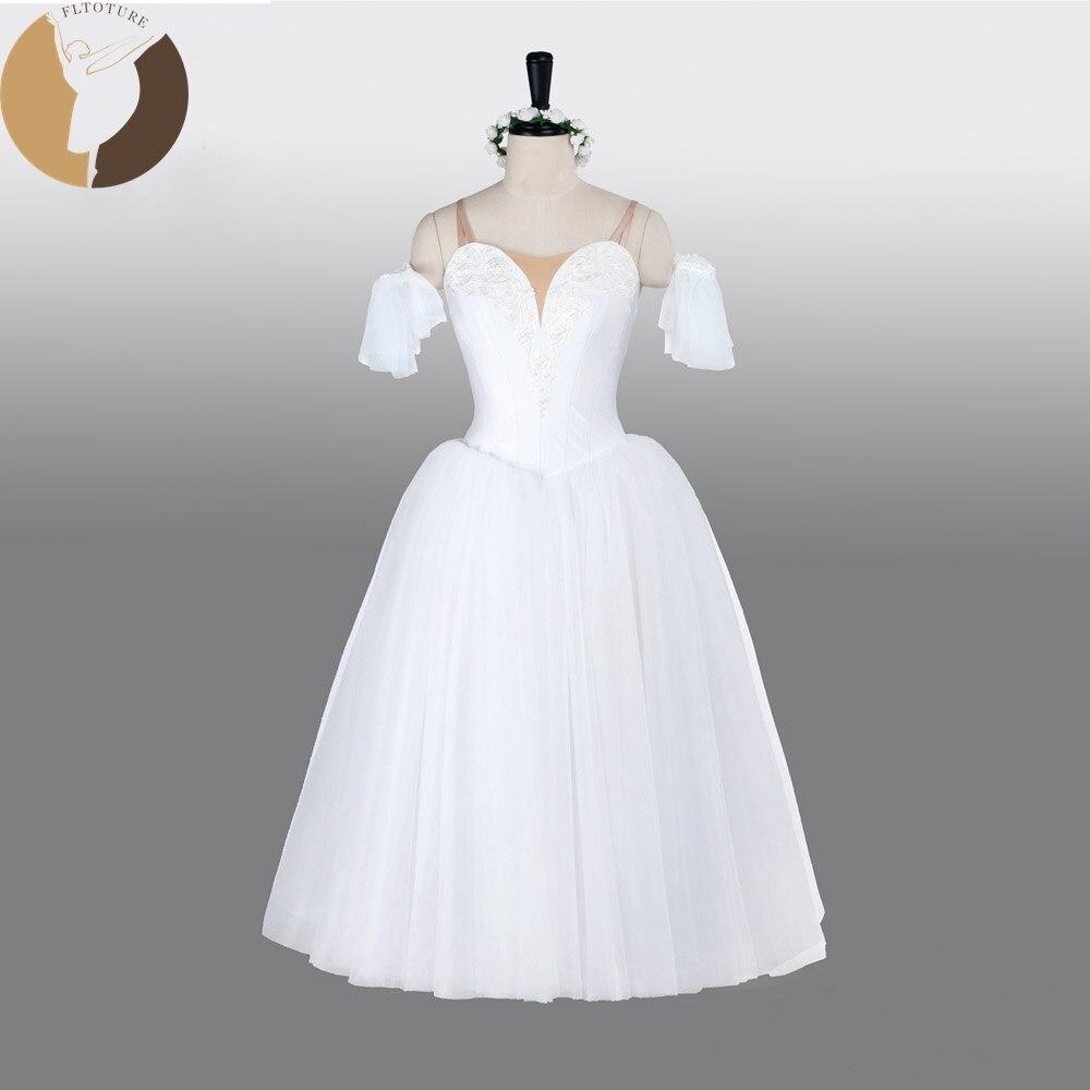 FLTOTURE AT1290Fairy Costumes Avec Aile Professionnel Ballet Robe Longue La Sylphide Romantique Jupes Longues Blanc Doux Tulle Jupe