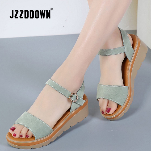 b6055161ce6454 Women Platform sandals shoes Cow Suede Leather ladies High Heel Sandal  Sneakers shoe 2018 summer Fashion