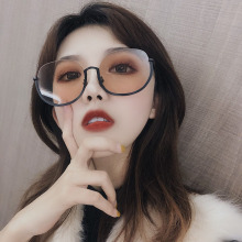 2019 Newest Fashion Retro Half-Frame sunglasses Vintage Semi-rimless Women Sunglasses brown Metal