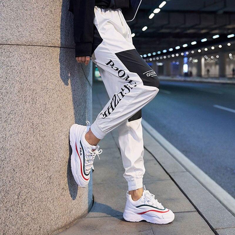 Women's Spliced Joggers Harem Pants Color Block Letter Print Trousers For Women 2019 Autumn Harajuku Ankle-length Sports Pants