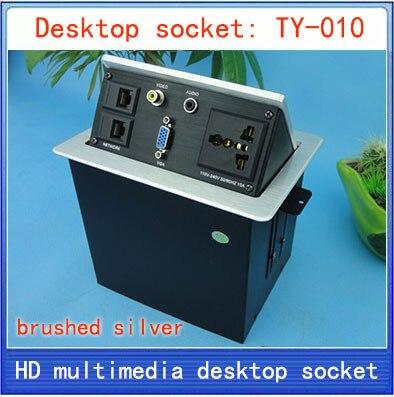 все цены на Desktop socket / hidden multimedia information box outlet /  network RJ45 3.5MM Audio/ VGA  interface desktop socket Box TY-010 онлайн