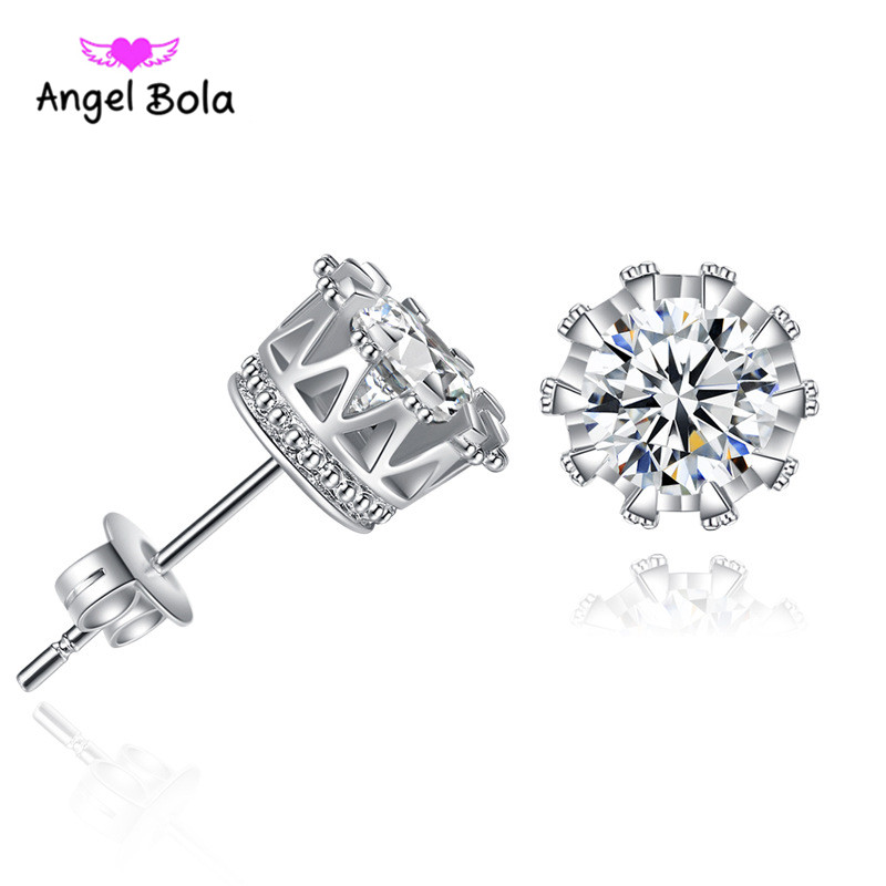 10psc/lot Stud Earrings Jewelry for Women Party Accessories Silver/Rose Plated Charms Cubic Zirconia Earrings Gifts