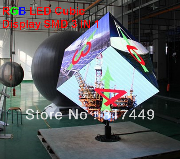 FULL COLOR SMD 3 IN 1 LED CUBIC DISPLAY, RGB 4MM,5MM,6MM,10MM CUBIC LED SCREEN, creative rgb cubic led sign, cubic rental screen