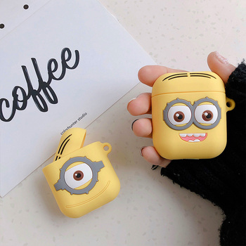 Cute Cartoon Minions Silicone Case For Airpods Earphone protective cover Bluetooth Wireless Earphone Case Charging Box case