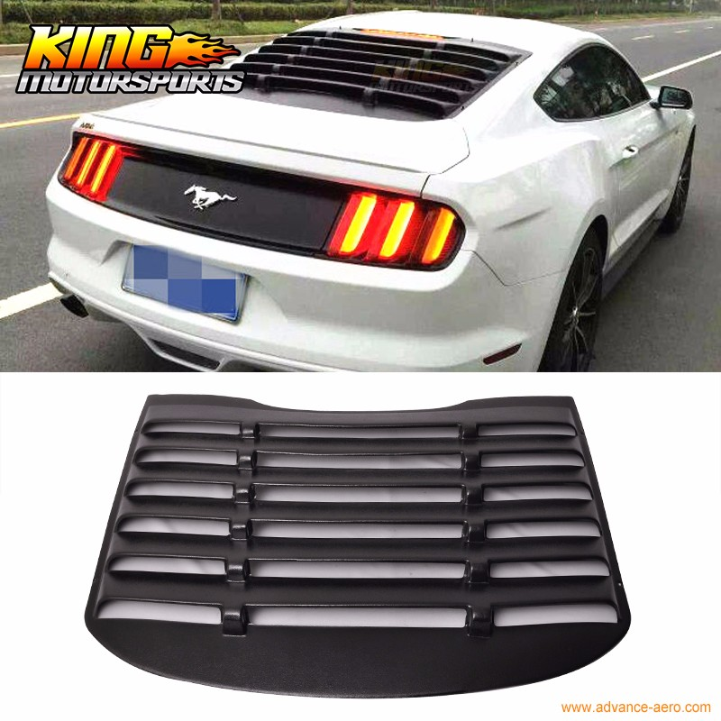 For 2015-2017 Ford Mustang Matte Black Vent Side Window Louver Cover ABS Plastic