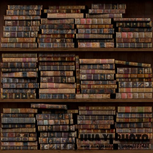 Bookshelf photography backdrop printed with various vintage retro books studio bookshelf backdrops background D-8272
