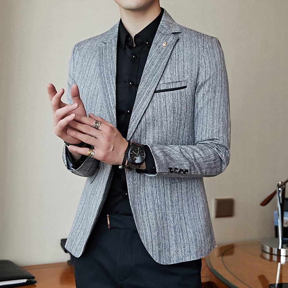 Fashion men blazers coat suit jacket spring autumn slim fit casual ...