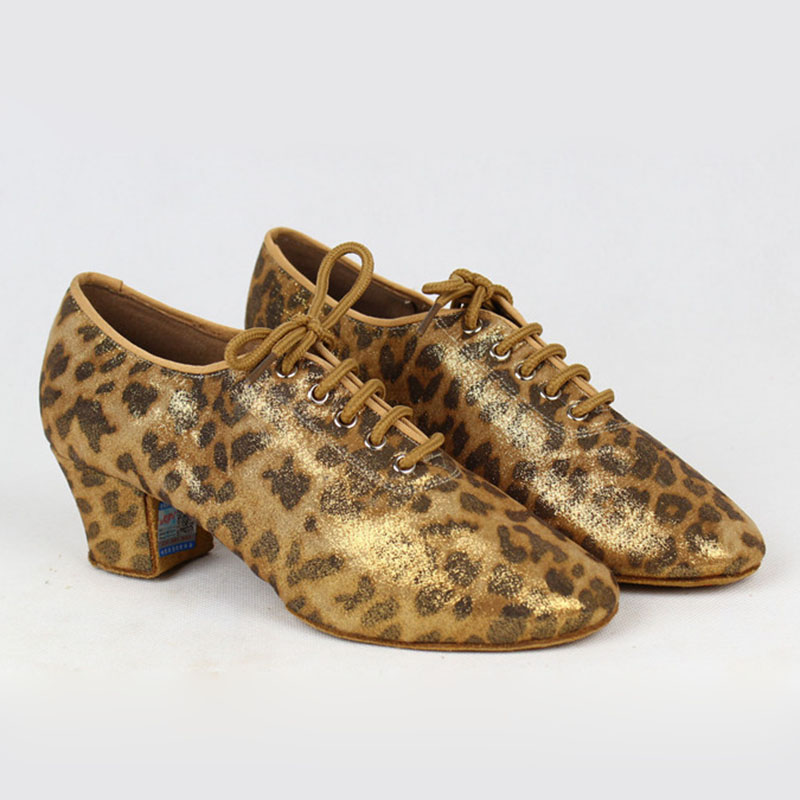 Women BD Dance Latin Shoe BD T1B Shinning Leopard Pattern Satin  Split Sole  Ladies Teaching Shoe Dancesport  Rumba  Salsa Dance dancesport bd dance 401 men latin dance shoes straight sole cow split leather men ballroom samba chacha rumba jive paso doble