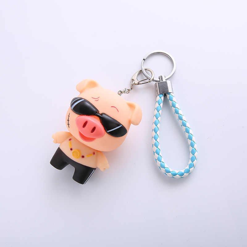 Moda Bonito Dos Desenhos Animados Porco Chaveiro de Couro Corda Chave Cadeias Anel Chave Animal Titular Saco de Pele para As Mulheres Menina Pingente A110
