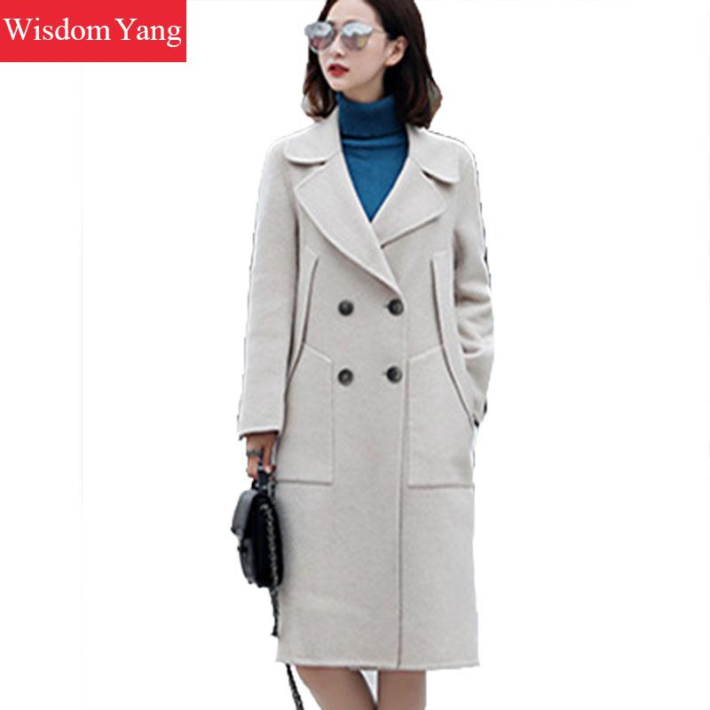 Long khaki Moutons vent Coat Beige Lâche Laine Coat Kaki Élégant De black Coat Coupe Trench Hiver Femmes Manteaux Survêtement Noir Lady Femelle Manteau Pardessus Wn4AB6