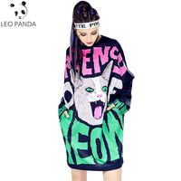 Spring Autumn Fashion T Shirt Women Letter Cat Printing O Neck Long Sleeve Tees Loose Plus Size Female Long Tshirt Hip Hop Tops